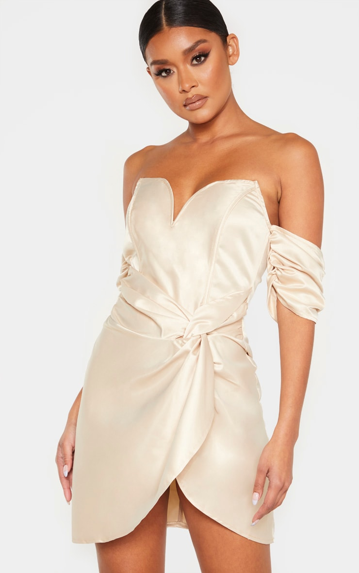 Champagne Satin V Bar Ruched Bodycon Dress 1