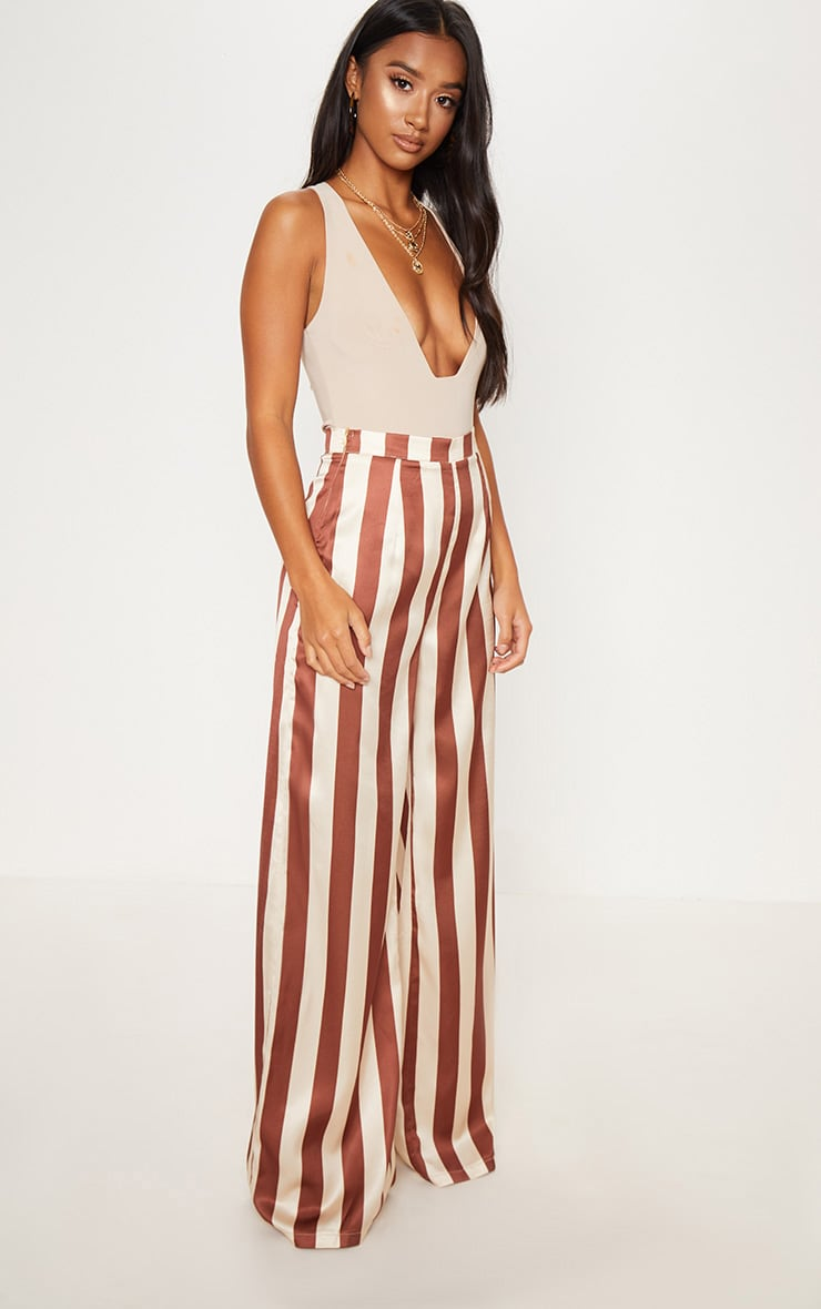 Petite Brown Stripe Wide Leg Pants 1