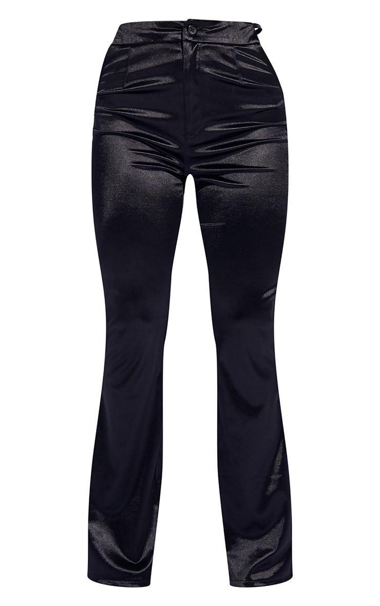 Black Stretch Satin Cut Out Hip Detail Flared Pants 5