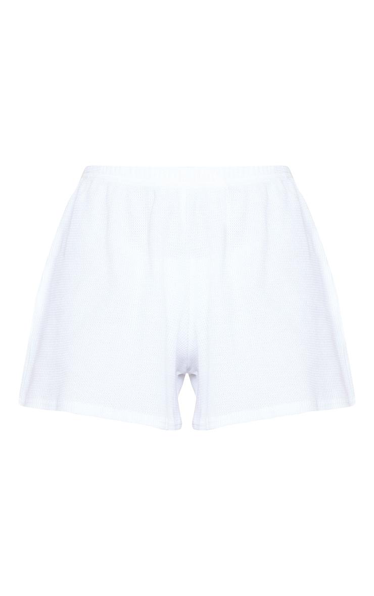 White Waffle Knit Shorts 6