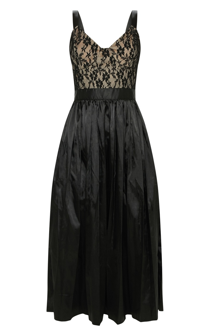 Black Lace Top Pleated Skirt Midi Dress 3