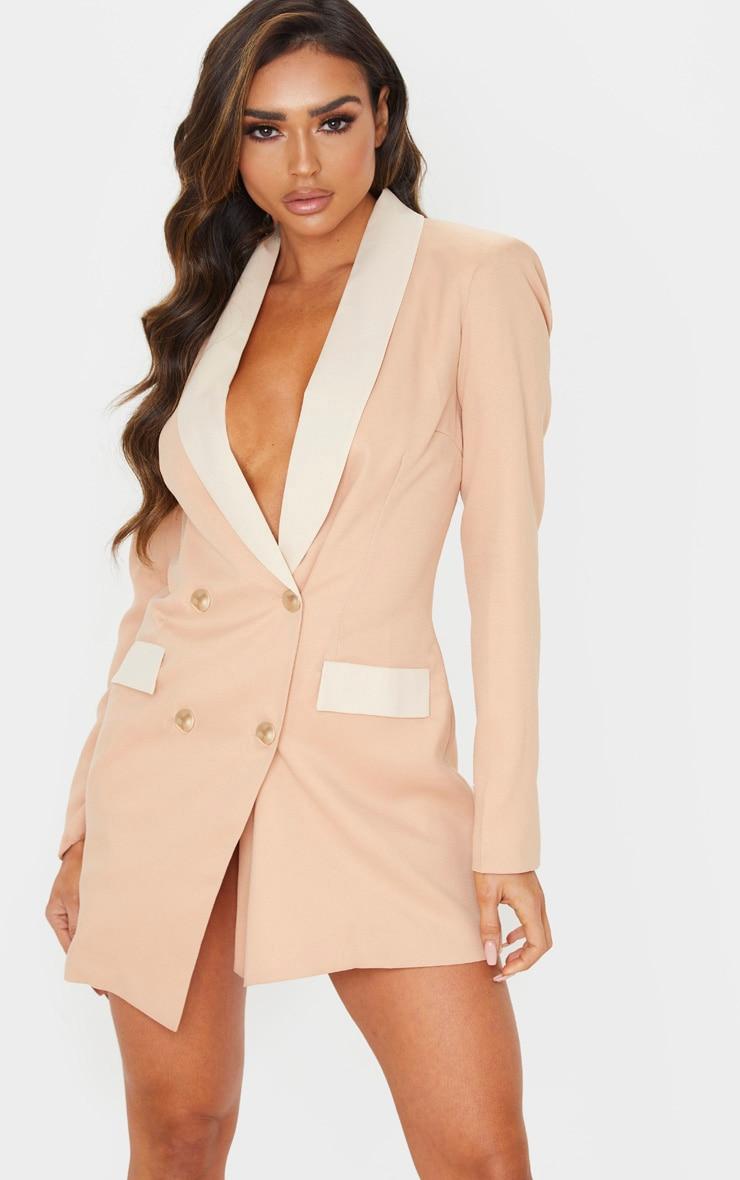 Cream Gold Button Contrast Blazer Dress 1