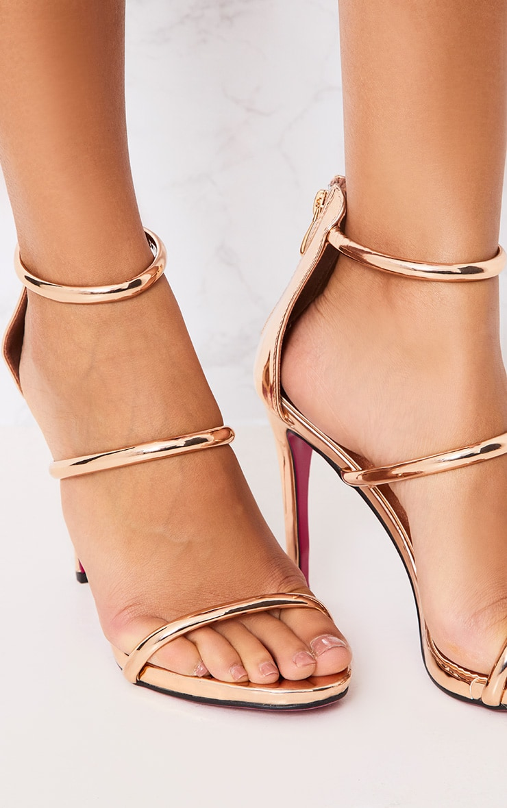 Marthea Rose Gold Tube Strap Heeled Sandals 5
