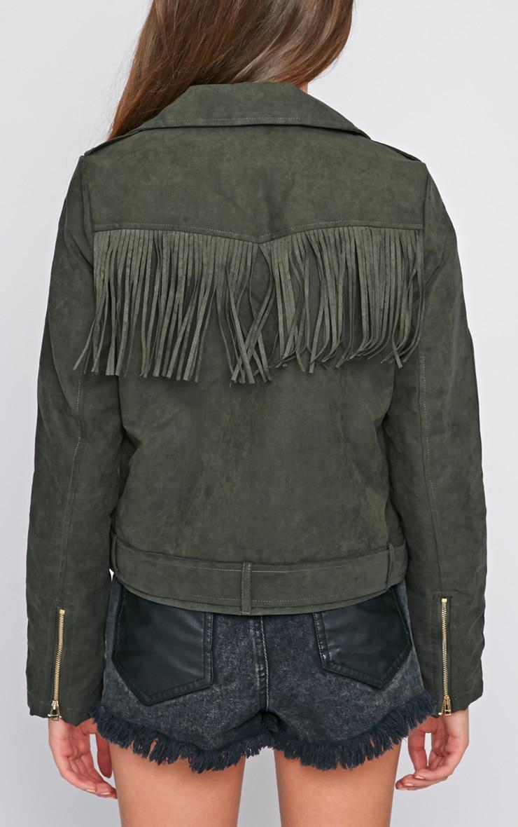 Shayelle Green Suede Tassel Padded Jacket  2