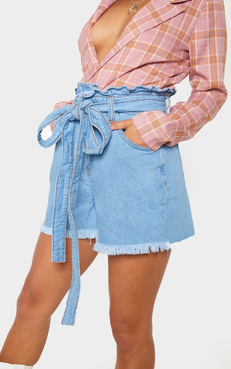 Petite Light Wash Paper Bag Tie Waist Denim Shorts 6
