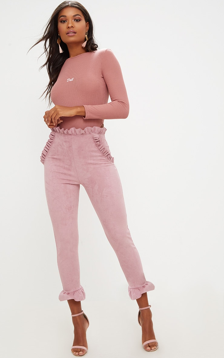 Rose Faux Suede Frill Trim Trousers 1