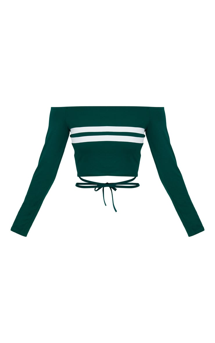 Emerald Green Bardot Stripe Harness Detail Crop Top  3