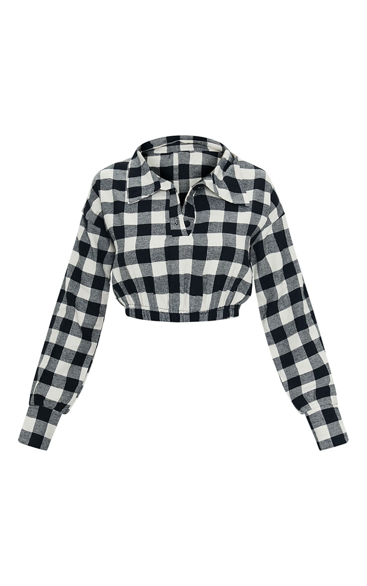 Black Flannel Check Button Up Elasticated Crop Shirt 5