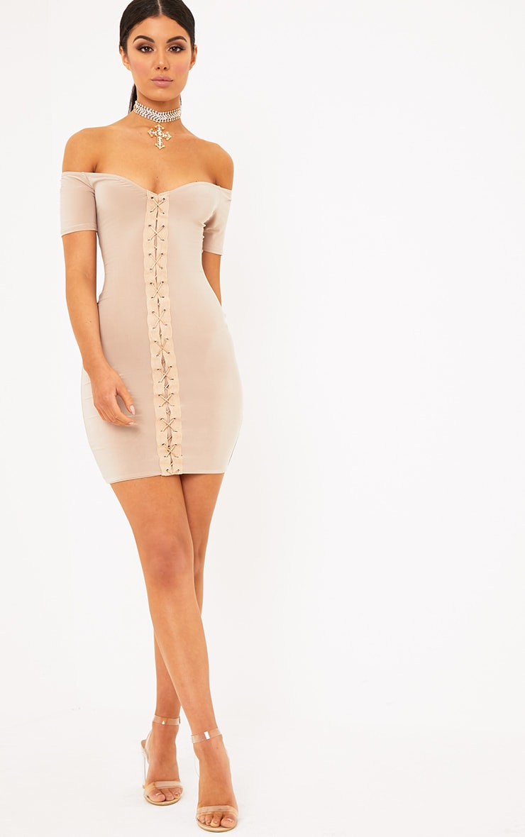 Nude Lace Up Cap Sleeve Bardot Bodycon Dress 4