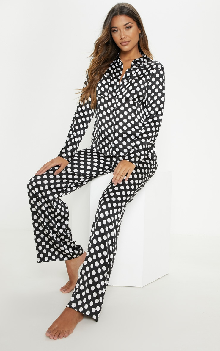 Monochrome Polka Print Long Sleeve Satin Pyjama Set 1
