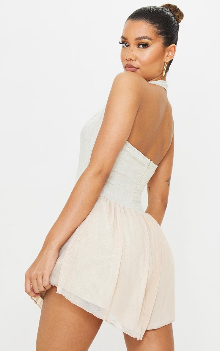 Stone Linen Look Bodice Mesh Skirt Halterneck Shift Dress 2