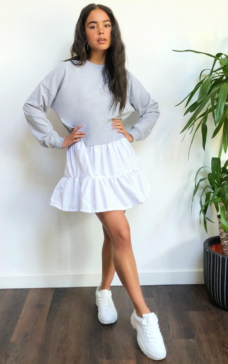 Grey Woven Tiered Hem Sweat Sweater Dress 1