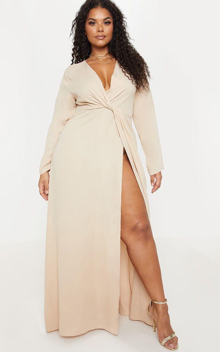 Plus Champagne Twist Front Maxi Dress 1