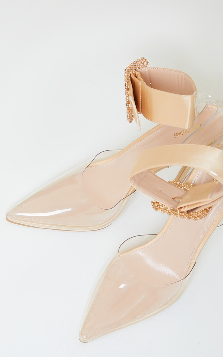 Nude Clear Diamante Buckle Ankle Strap Stiletto Heel Court Shoes 4