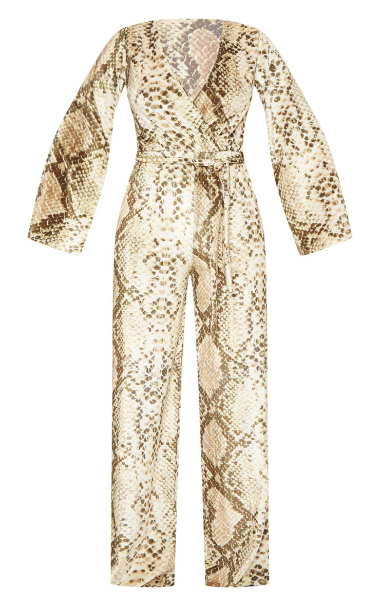 Beige Snake Print Velvet Tie Waist Jumpsuit 4