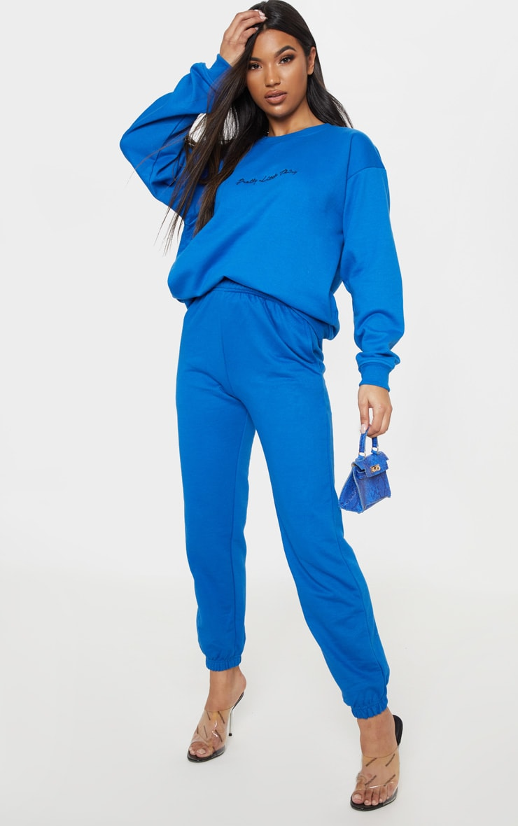 PRETTYLITTLETHING Cobalt Embroidered Oversized Sweater 4