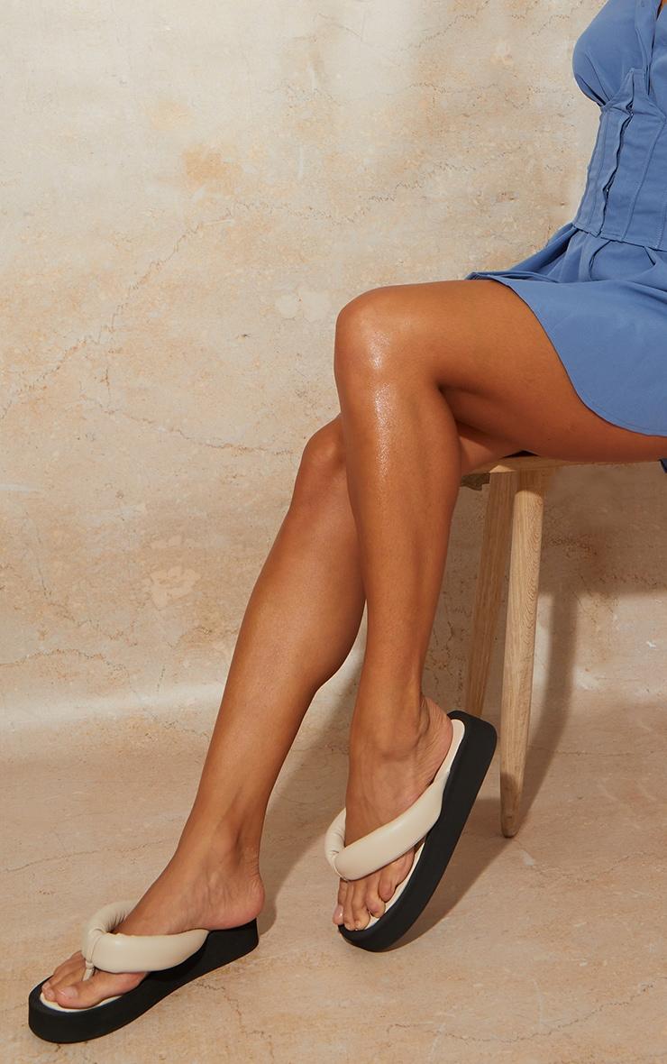 Cream Tube Strap Chunky Toe Post Sandals 2