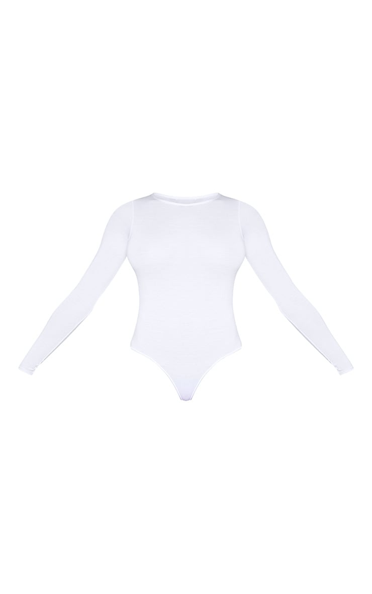 Tall White Basic Crew Neck Long Sleeve Bodysuit 3
