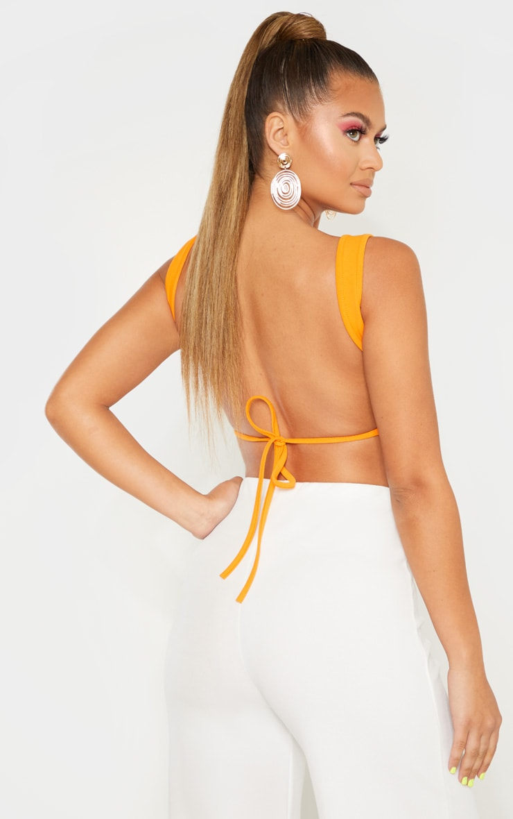 Bright Orange Mix & Match Crepe Scoop Neck Strap Crop Top 2