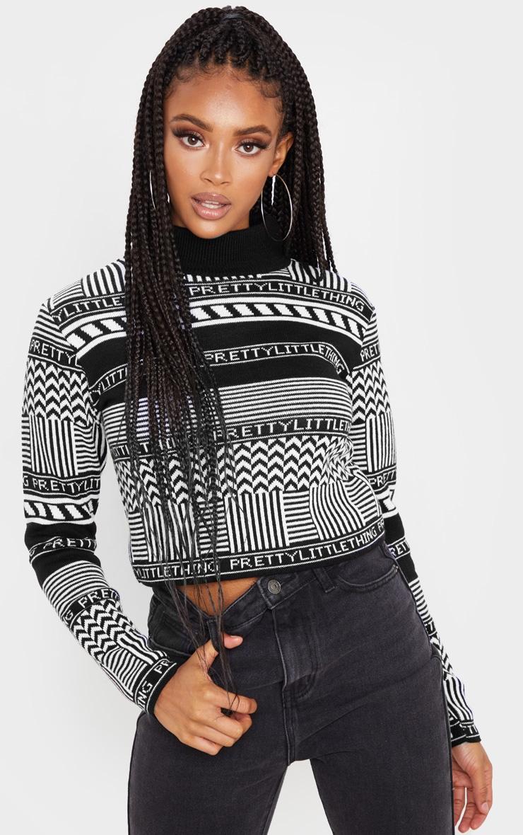 PRETTYLITTLETHING Black Knit Crop Sweater 1