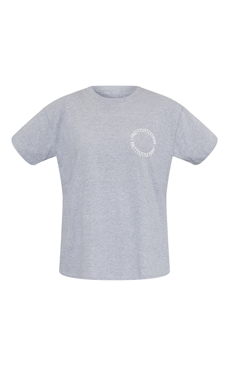 PRETTYLITTLETHING Grey Circle Back Print T Shirt 5