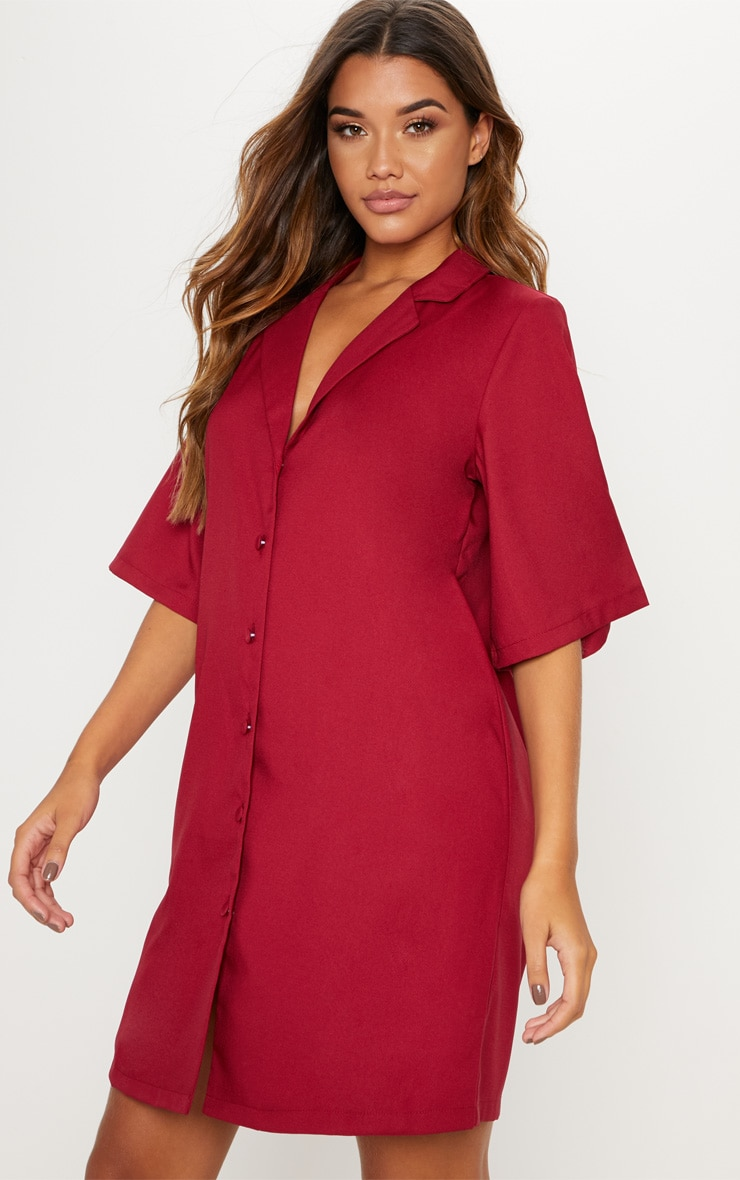 Burgundy Short Sleeve Shirt Dress