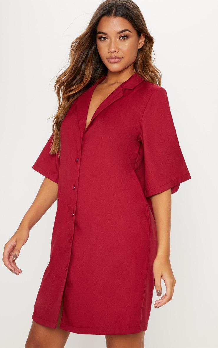 Robe chemise bordeaux à manches courtes