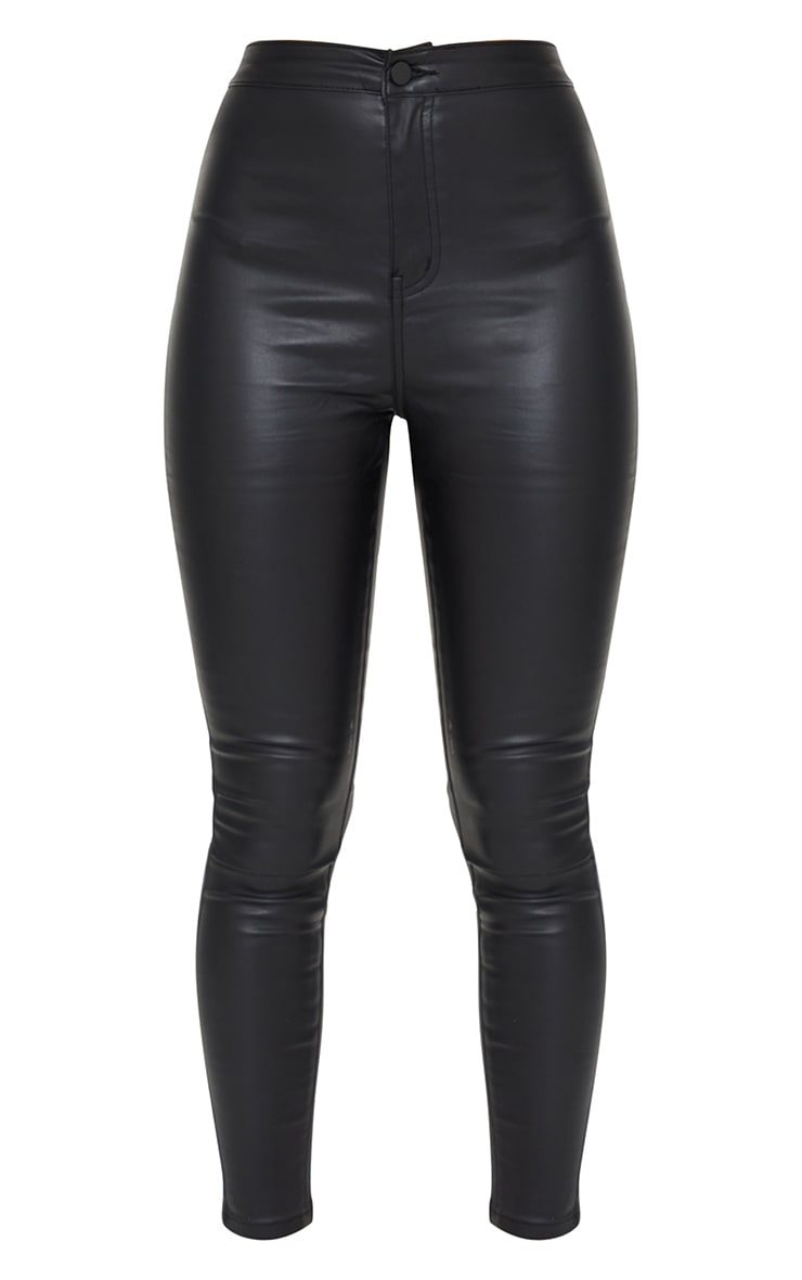 Coated Black Disco Skinny Jeans 5