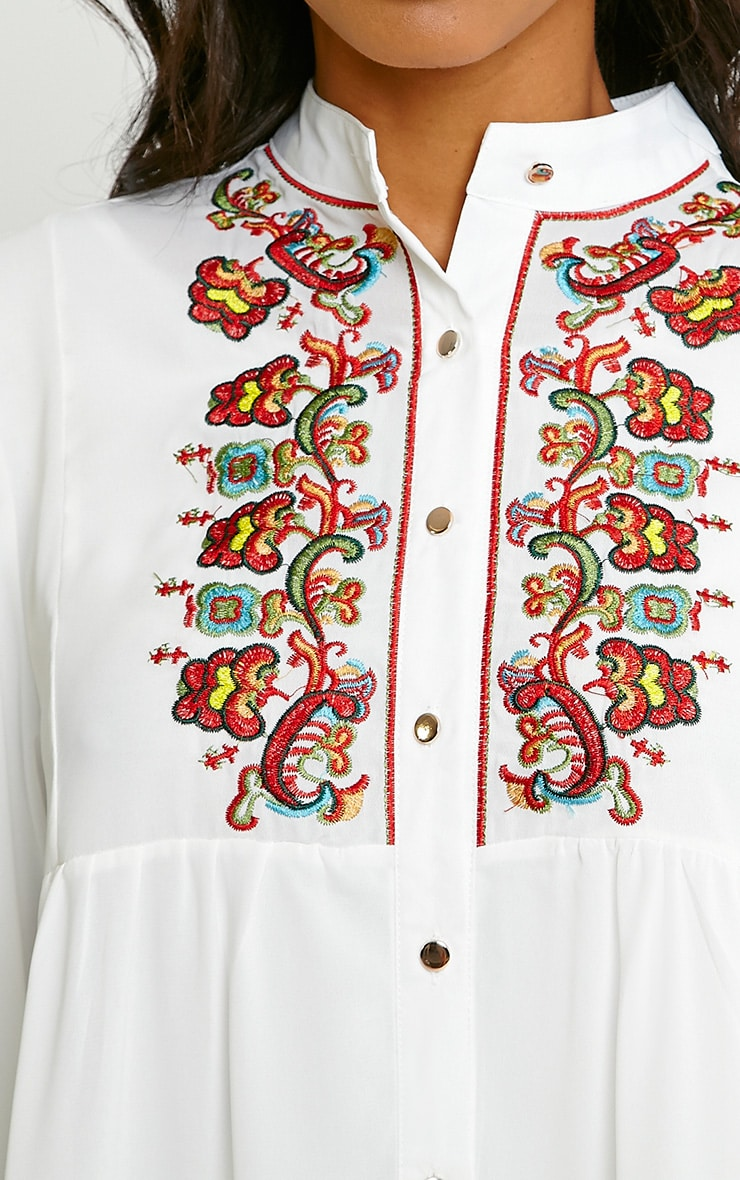 Melania White Embroidered Sheer Shirt Dress 5