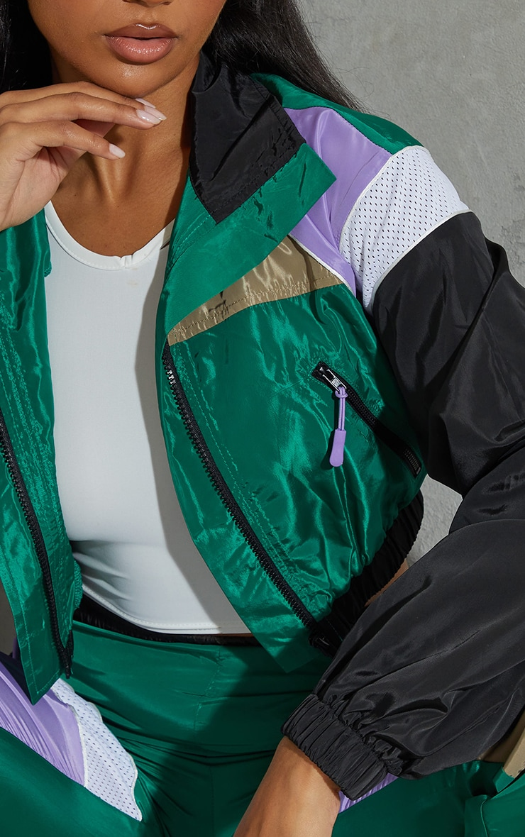 Green Colourblock Shell Zip Through Jacket 4