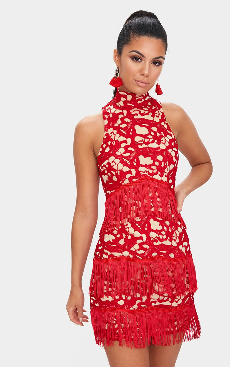 Red Lace Sleeveless Tassel Detail Bodycon Dress  1