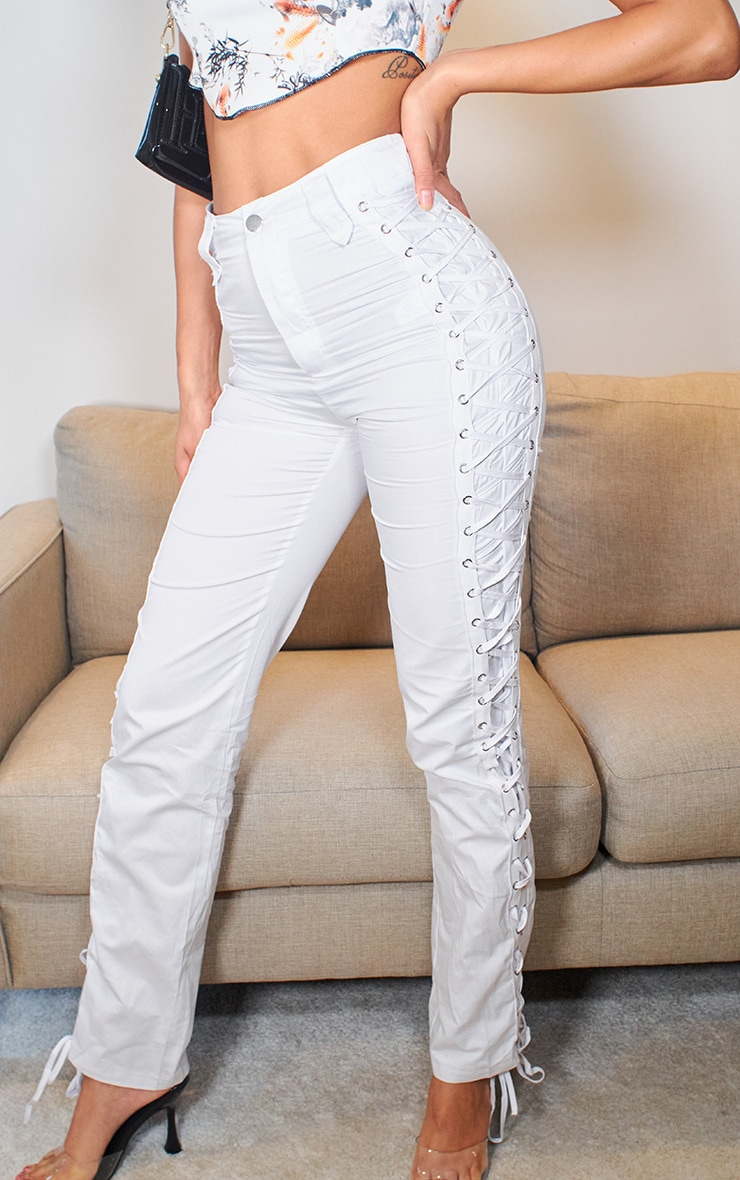 White Woven Eyelet Lace Up Detail Straight Leg Trouser 2
