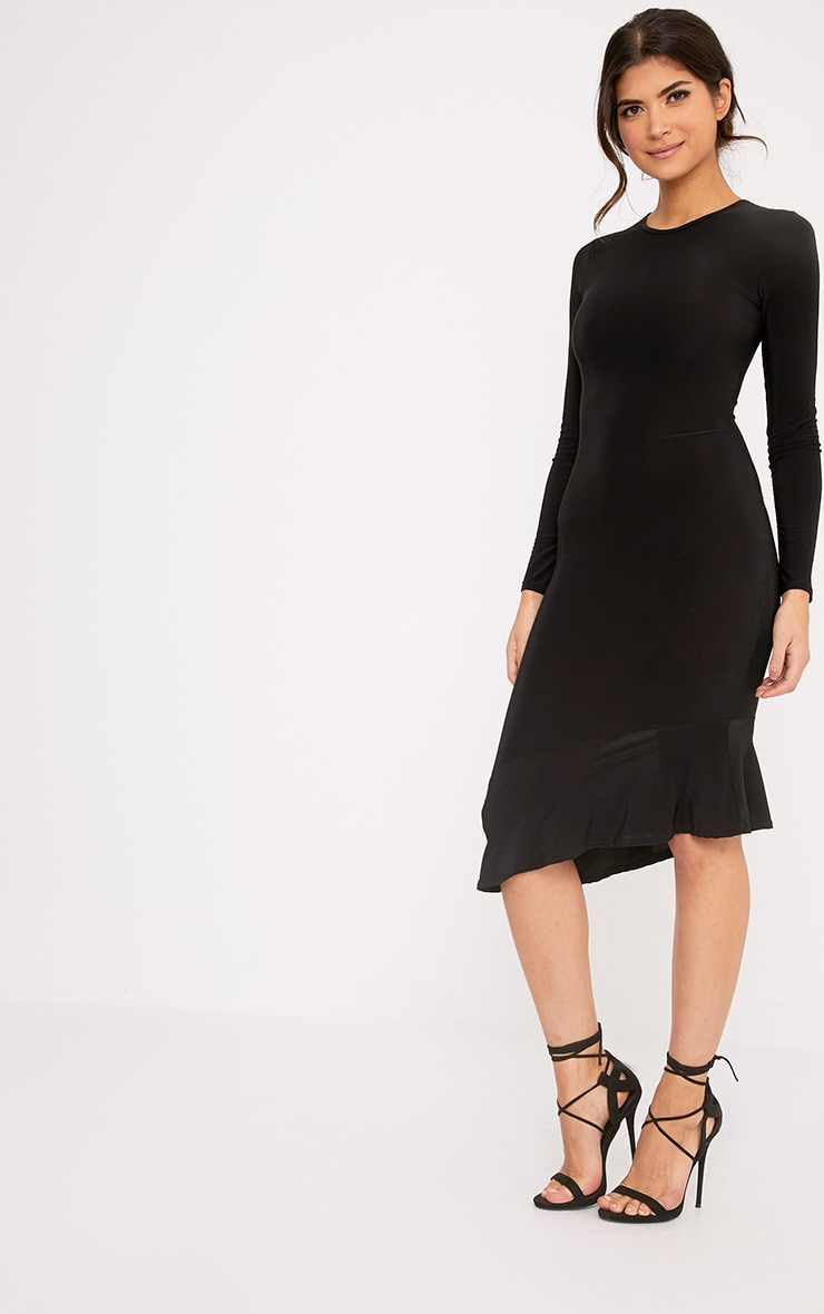 Arlo Black Slinky Asymmetric Drop Frill Hem Midi Dress 4