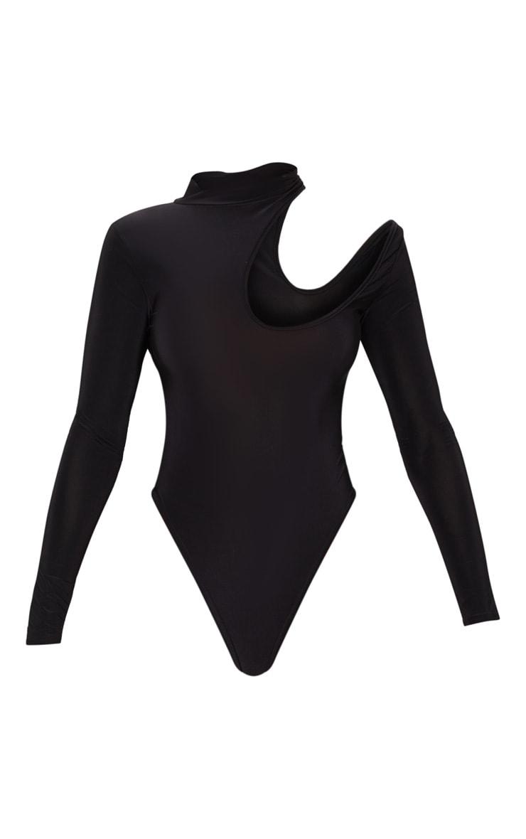 Black Slinky Cut Out Strappy Bodysuit 5