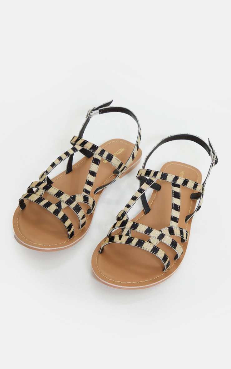 Zebra Leather Strappy Sandals 3