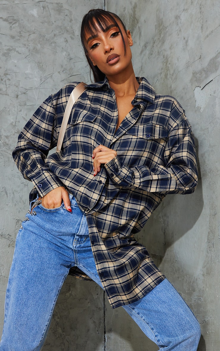 Blue Woven Checked Pocket Detail Oversized Shirt