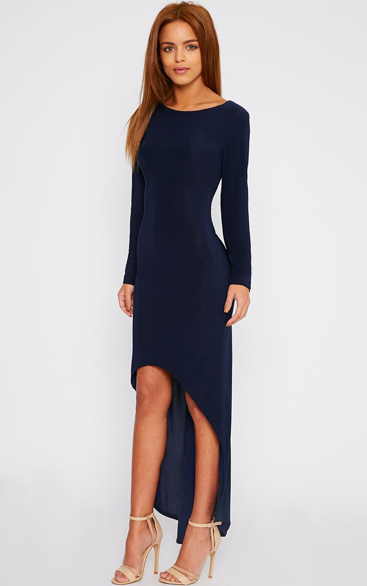 Fearne Navy Slinky Dip Hem Dress 1