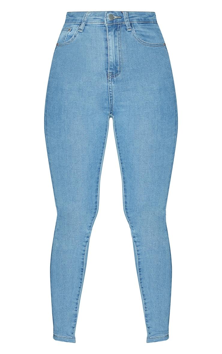 PRETTYLITTLETHING Light Wash 5 Pocket Skinny Jean 3