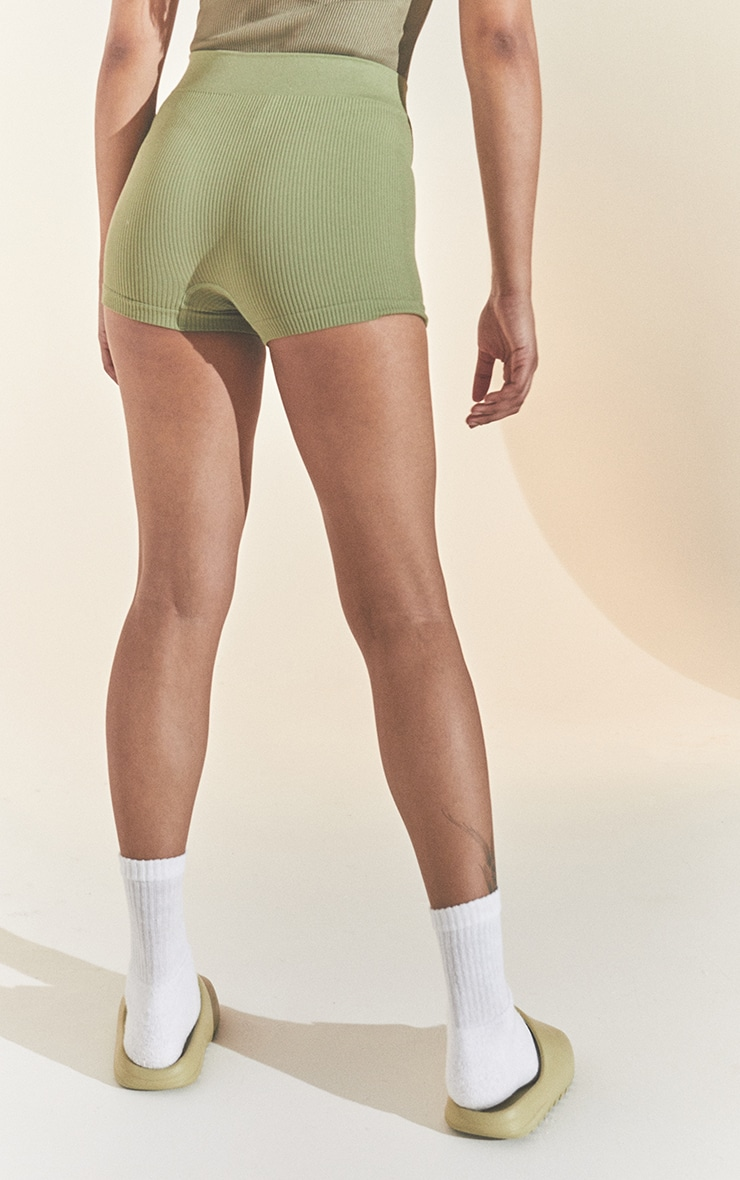 Khaki Structured Contour Rib Hot Pant 3