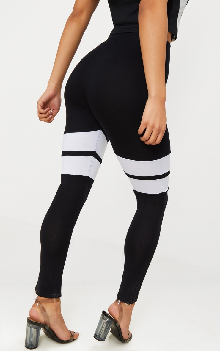 Black Double Track Stripe Legging  3