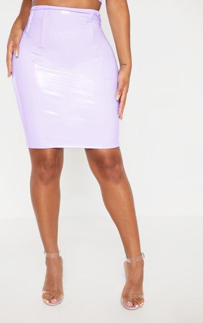 Shape Lilac Vinyl Corset Detail Bodycon Skirt