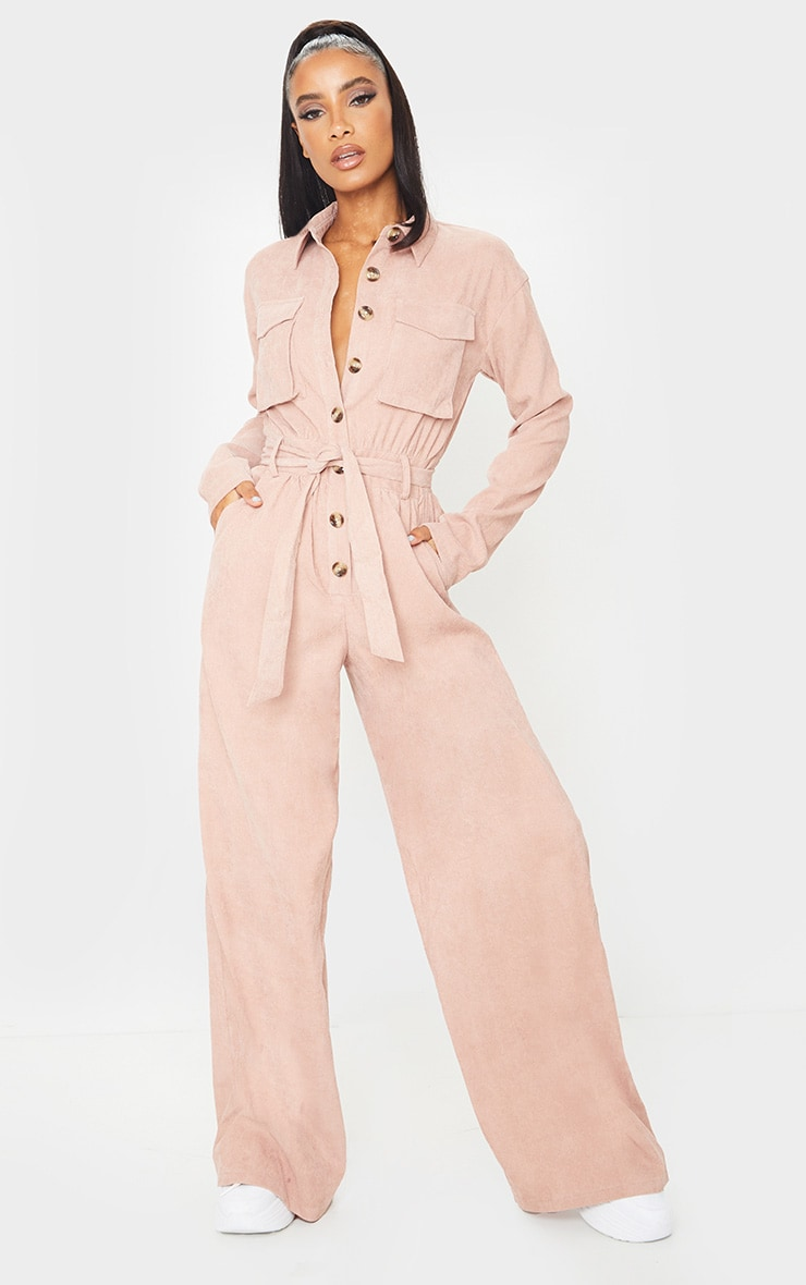 Blush Cord Pocket Detail Utility Jumpsuit 3