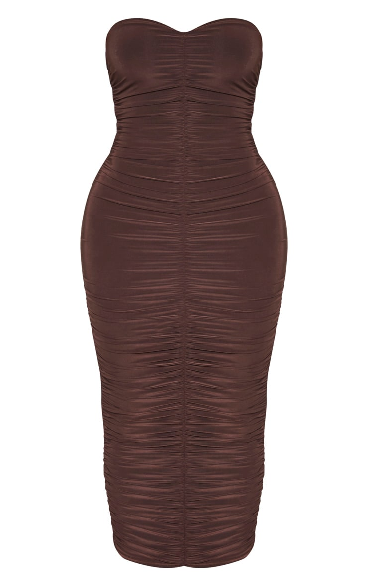 Shape Chocolate Brown Bandeau Ruched Midaxi Dress 3