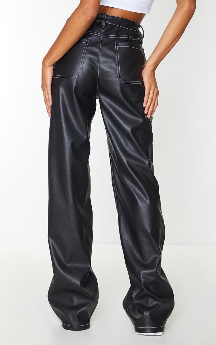 Black Faux Leather Seam Extreme Wide Leg Pants 3