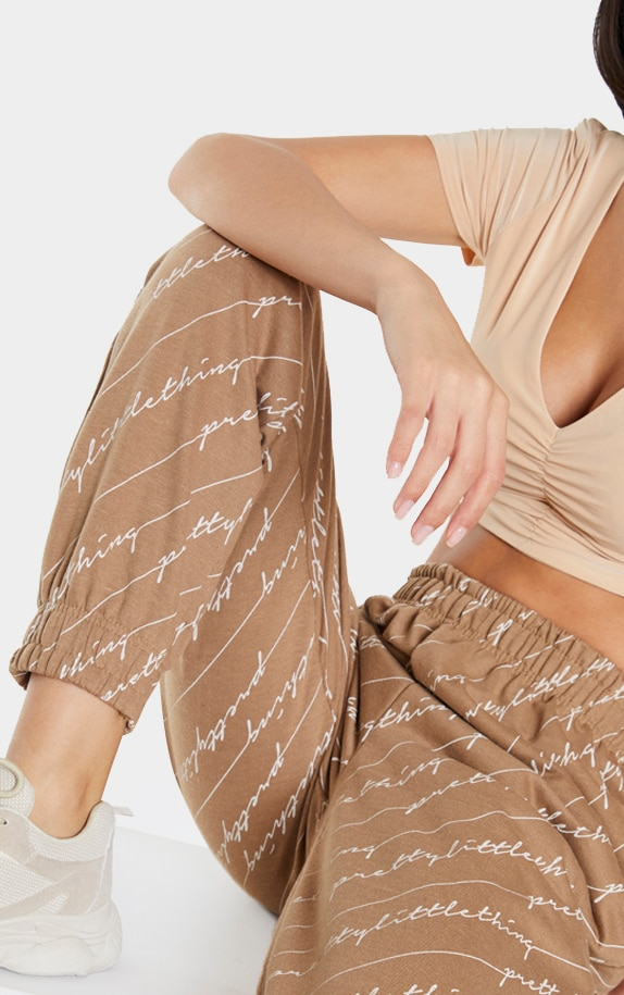 Taupe PRETTYLITTLETHING Printed Joggers 4