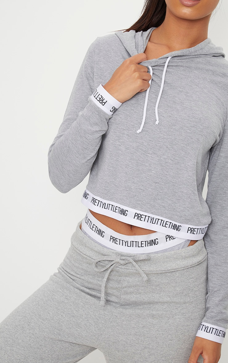 PRETTYLITTLETHING Grey Tape Crop Hoodie 5