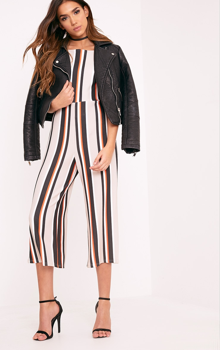 Katy Orange Stripe Culotte Jumpsuit 1