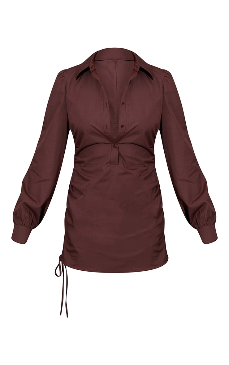 Chocolate Ruched Side Fitted Shirt Dress 5