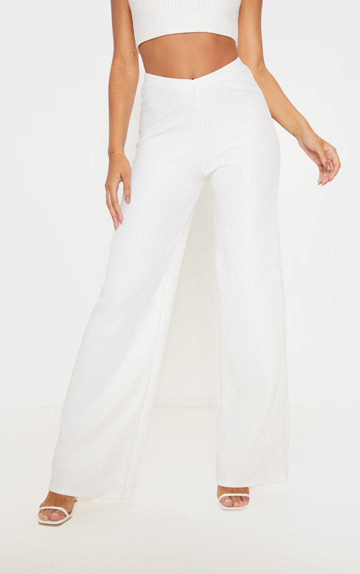Cream Pleated Detail Wide Leg Pants 2