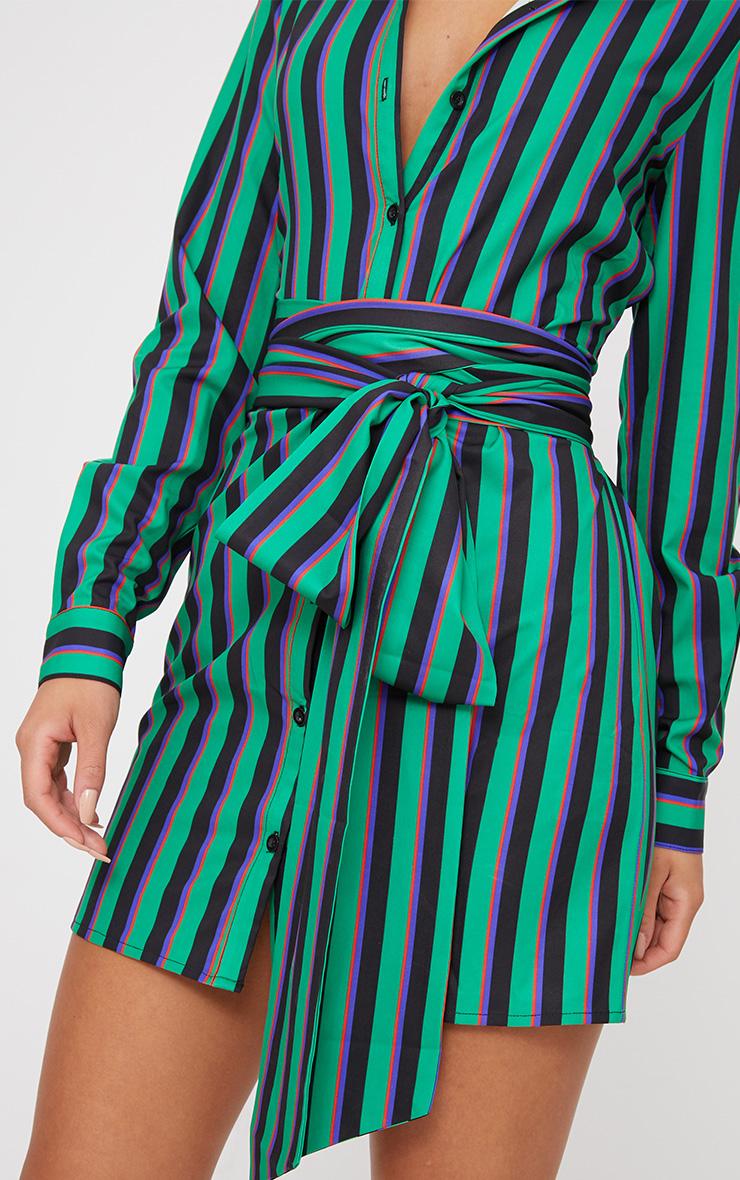 Green Stripe Tie Waist Shirt Dress 5